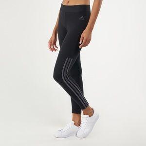 Adidas training leggings w/ velour stripes (sm)